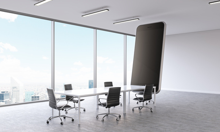 window display: Sideview of conference room with huge smartphone and New York city view. Mock up, 3D Rendering Stock Photo
