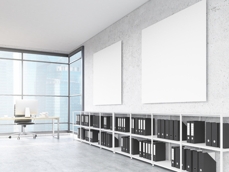 Office interior with blank posters on concrete wall and Moscow city view. Mock up, 3D Rendering