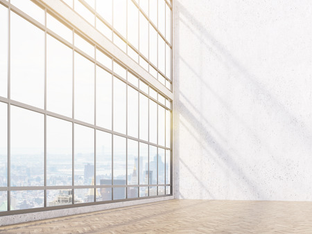 noone: Empty office, white wall and panoramic window, city view. Concept of new office. Mock up. 3D rendering