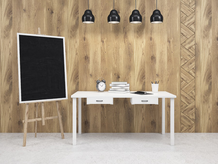 moveable: Moveable blackboard at table, four lamps above. Wooden wall. Concept of decoration. Mock up. 3D rendering