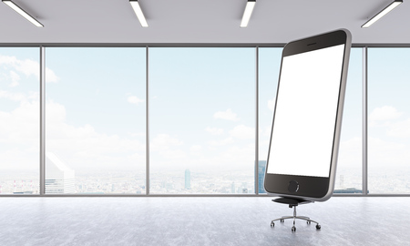 view window: Huge smartphone model with white screen on chair  in empty office. Panoramic window, city view. Concept of presentation. Mock up. 3D rendering