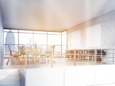 Office interieur met New York uitzicht op de stad. 3D Rendering