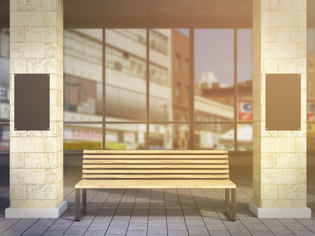 under view: Bench under portico between columns, black posters on them. Front view. Toned, filter. Concept of bus stop. Mock up. 3D rendering