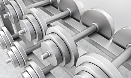 regulate: Dumbbells of same weight in gym. Concept of training. 3D rendering