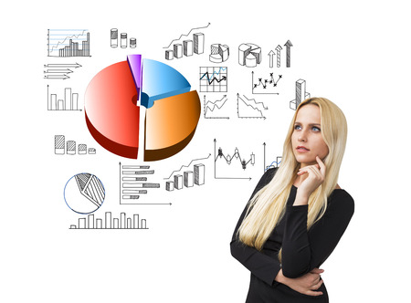 cheek: Businesswoman with hand at cheek, graphs and diagrams on left. White background. Concept of data analysis.