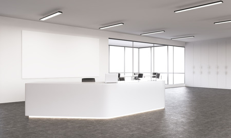 office space: Empty white reception with laptops, big white board on wall behind. Side view. Concept of reception. Mock up. 3D rendering