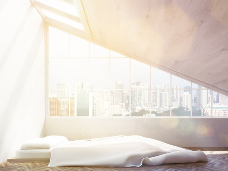 sideview: Sideview of bedroom interior with Singapore city view and sunlight. 3D Rendering