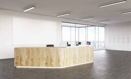 Empty wooden reception with laptops, big white board on wall behind. Side view. Concept of reception. Mock up. 3D rendering