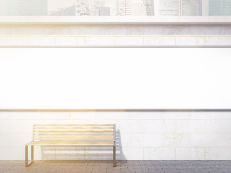 concrete background: Long blank banner over bench. Concrete background. Concept of street advertising. Mock up. 3D rendering Stock Photo
