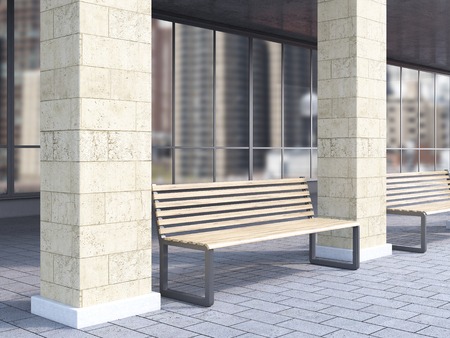 under view: Bench under portico between columns. City view. Concept of bus stop. 3D rendering Stock Photo