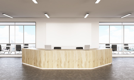spacious: Spacious interior design with wooden reception area and blank board. Mock up, 3D Rendering