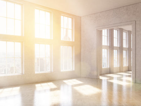 noone: Empty office, panoramic windows and big doorway, city view, New York. Loft. Concept of new office. 3D rendering