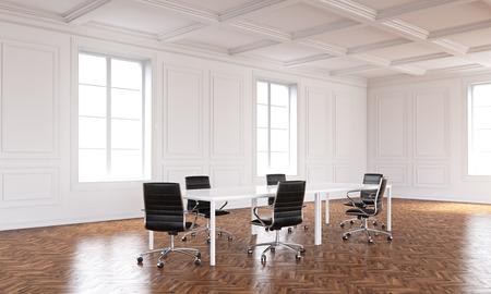 Sitzungsinnenraum mit Bretterboden und weißen Wänden. 3D-Rendering