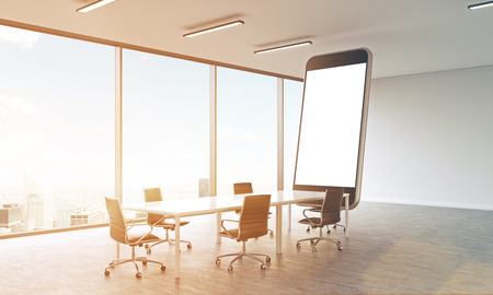 sunlit: Sideview of sunlit conference room with huge smartphone and New York city view. Mock up, 3D Rendering