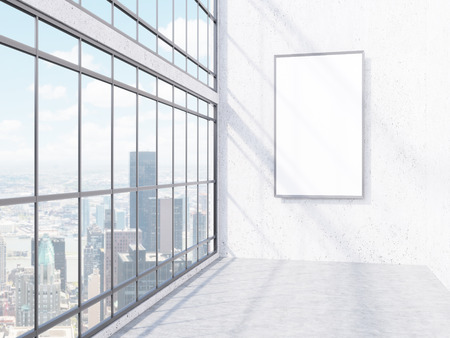 Big rectangle frame on wall in office, window with New York view on left. Concept of decoration. Mock up. 3D rendering