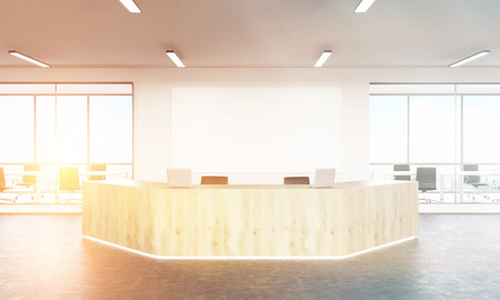 noone: Empty reception with laptops, big white board on wall behind, windows and meeting rooms at background. Concept of reception. Toned, filter. Mock up. 3D rendering