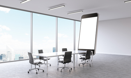 demonstrate: Huge smartphone model with white screen in meeting room. Panoramic window, city view. Concept of presentation. Mock up. 3D rendering