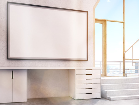 toned: Blank large picture frame in interior with stairs. Toned image. Mock up, 3D Rendering