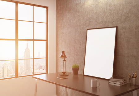 sideview: Sideview of workplace with blank picture frame in interior with New York city view. Toned image. Mock up, 3D Rendering