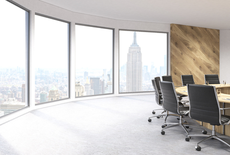 swivel chairs: Boarding room sideview with panoramic windows revealing New York city view. 3D Rendering