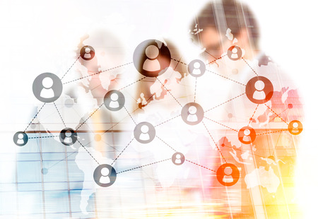 businesspeople: Networking system and businesspeople. Double exposure Stock Photo