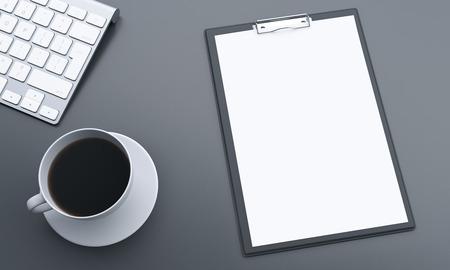 hoja en blanco: Topview de escritorio gris con el papel en blanco, el café y el teclado. Maqueta, 3D Foto de archivo