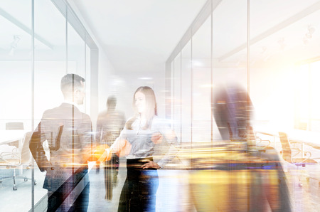 Businesspeople shaking hands in office. Double exposure Stock Photo