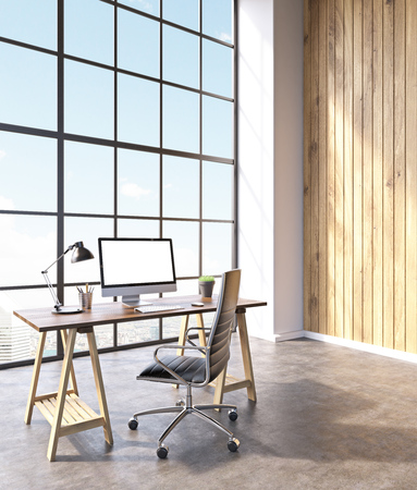 noone: Workplace with computer and castor chair, hall with panoramic windows and wooden walls. Loft. City view. Concept of new office. Mock up. 3D rendering