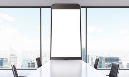 table sizes: Huge smartphone model with white screen in meeting room. Panoramic window, city. Front view. Concept of presentation. Mock up. 3D rendering
