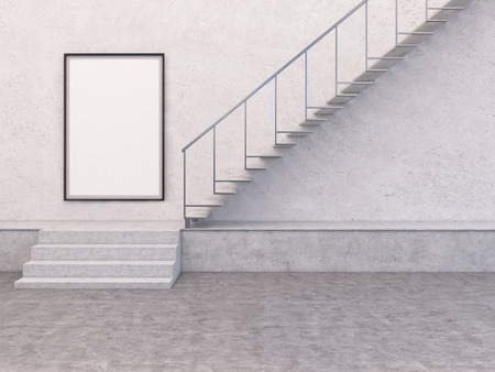 concrete stairs: Blank picture frame in concrete interior with stairs. Mock up, 3D Rendering