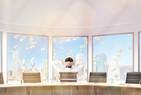 freefall: Businessman sitting in conference room with hands on head. Large windows with money rain view. 3D Rendering