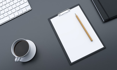 Topview of grey desktop with blank paper, coffee and keyboard. Mock up, 3D Rendering Stock Photo