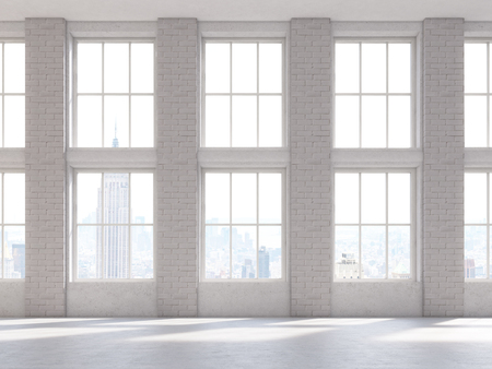 frontview: Frontviewof brick interior with large windows. 3D Rendering
