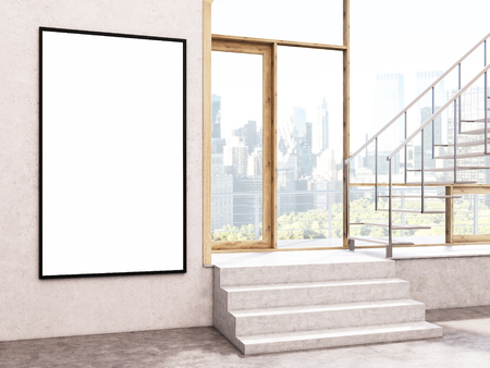 stairs interior: Blank frame in interior with stairs and city view. Mock up, 3D Rendering Stock Photo
