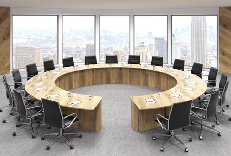 swivel chairs: Boarding room interior design with circular wooden table, swivel chairs and New York city view. 3D Rendering Stock Photo