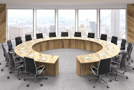 Boarding room interior design met ronde houten tafel, draaistoelen en New York uitzicht op de stad. 3D Rendering