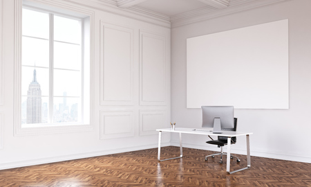 noone: Table with computer in big hall, blank poster on wall, window, New York view, luxury parquet. Concept of new office. Mock up. 3D rendering