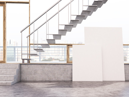 blank canvas: Two blank canvas in interior with stairs and city view. Mock up, 3D Rendering