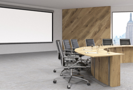 swivel chairs: Blank whiteboard in conference room interior with wooden table, swivel chairs and New York view. Mock up, 3D Rendering