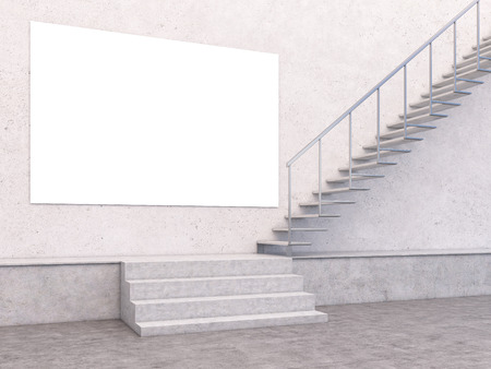 concrete stairs: Blank banner in concrete interior with stairs. Mock up, 3D Rendering