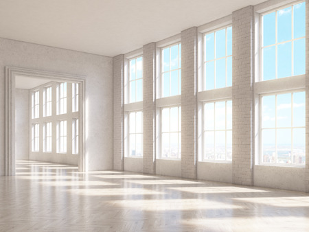 sideview: Sideview of brick interior with large windows and wooden floor. 3D Rendering
