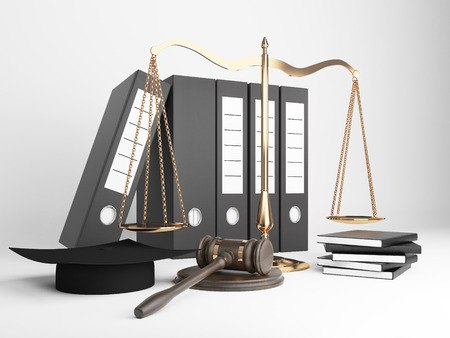 trial balance: Golden scales of justice, document folders, judges hat and gavel on light background. 3D Rendering