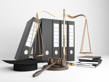 femida: Golden scales of justice, document folders, judges hat and gavel on light background. 3D Rendering