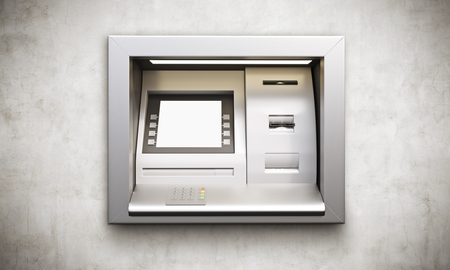 built: ATM machine with blank display built into conrete wall. Mock up, 3D Rendering