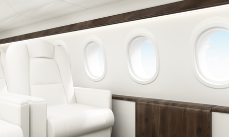 portholes: Aircraft interior with white leather armchair, wooden insertions and several portholes with sky view. Sideview, 3D Rendering