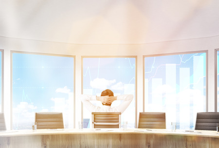 swivel: Businessman sitting in conference room with hands on head. Large windows with business graphs. 3D Rendering