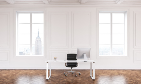 noone: Table with computer in big hall, two windows, luxury parquet. Concept of new office. Mock up. 3D rendering