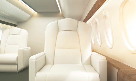 White leather armchair in aircraft interior. Private jet concept. Toned image. 3D Rendering