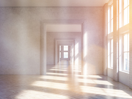 archway: Sunlit concrete interior design with wooden floor and archway. Toned image. 3D Rendering Stock Photo