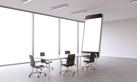 sideview: Sideview of conference room with huge white smartphone. Mock up, 3D Rendering Stock Photo